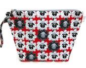 KNITTING PROJECT BAG - Medium, Zippered Wide Mouth Wedge Bag, Sheep to Sheep on Red, Zippered Project Bag, Handmade, Knitting Bag, Shawl Bag