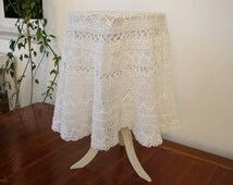 handmade Greek white lace crochet oval tablecloth, vintage needle lace-handworked 1960's