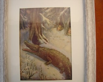 original 1913 antique,Flora White rare book plate/ print from Peter Pan's ABC book-crocodile,Hook,children