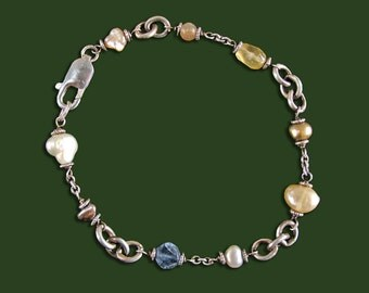 Sterling Bracelet with Pearls and Glass Beads