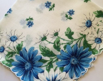 Vintage Hankie Handkerchief Blue and White Daisy Floral Design