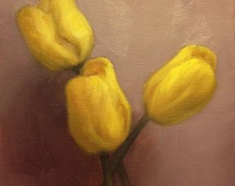 Original Oil Painting Yellow Tulips
