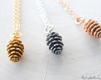 Pinecone necklace Pinecone pendant Pinecone Necklace Pine Cone Necklace Pinecone Jewelry Sterling silver Pinecone Gold Pinecone or Rose Gold