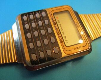 Nikko rare cool retro Calculator LCD alrm quartz men's watch gold vintage memorabilia great condition