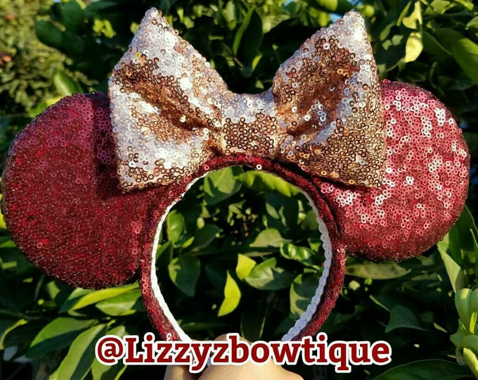 Burgundy Sequin Minnie ears with Rosegold bow or pick any color sequin bow