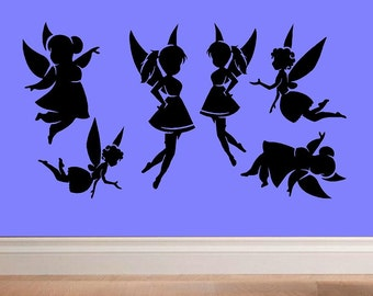 Collection of 6 Fairies wall decal fantasy nursery decal decal for kids WD028