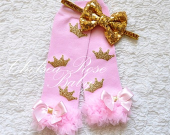 Pink and gold crown leg warmers, baby leg warmers, girls leg warmers, pink and gold birthday outfit, pink and gold leg warmers, leggings