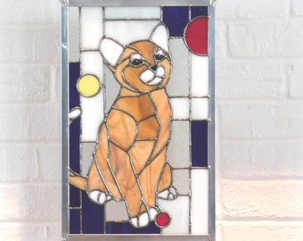 Stained Glass Cat Panel