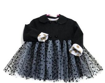 Tutu Coat, Toddler Tutu Coat, Girls Coat, Girls Tutu Coat shown with Black and White Tutu