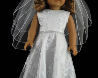 Handmade American Girl 18 Inch Embroidered Bridal Mesh First Communion, Flower Girl, Wedding Gown