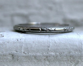 Classic Vintage Floral 18K White Gold Wedding Band by J. R. Wood and Sons.