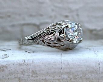 Vintage Filigree Platinum Solitaire Diamond Engagement Ring - 0.65ct