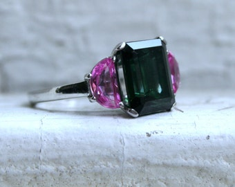 RESERVED - Vintage Platinum Tourmaline Engagement Ring with Half Moon Pink Sapphire - 4.30ct.