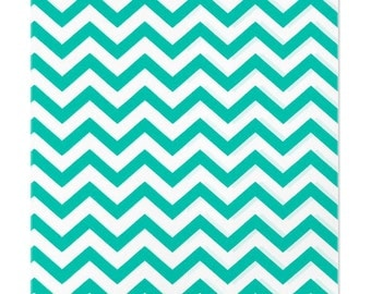 100 Teal Green Chevron Paper Bags, 6 x 9 inches with Chevron Stripes on White Paper - Flat Merchandise Bags