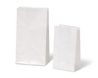 "40 White Kraft Paper Bags 4.25"" x 2.75"" x 8.5"" Gusseted Bags That Stand Up"