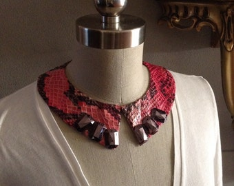 Jeweled Shades of Pink Python Pointed Collar Necklace With Jewelry Back Closure