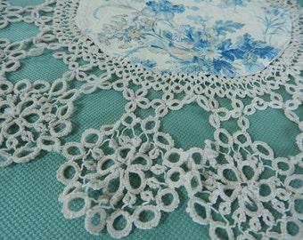 Crocheted Doily - Upcycled Doily - Refashioned Doily - Vintage Linens - Antique Crochet - Ornate Doily - Handmade Crochet