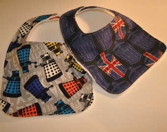 2 Dr Who baby bibs,  Doctor Who Bibs, Terry cloth backed baby bibs, set of 2 bibs in Dr Who prints, Doctor who baby shower,Dalek and Tardis