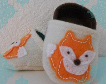 Orange Felt Fox Decal Baby Slippers- Orange, Cream and Brown Fox Shoes