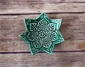 Ring Holder - emerald green trinket dish with boho stamped pattern.  Handmade gift under 10, great for teachers, girlfriends, or co-workers!