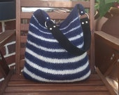 FREE SHIPPING USA. Blue and White striped felted shoulder bag with leather strap