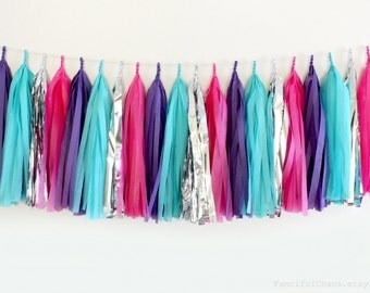 Purple, Turquoise, Hot Pink, Silver Tissue Paper Tassel Garland- Wedding, Birthday, Bridal Shower, Baby Shower, Party Decorations