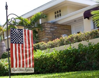 God Bless America Patriotic Flag Sign with yard Stake