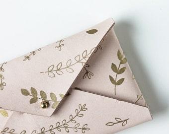 Veg Tanned Leather Envelope Clutch - Floral Print