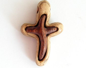 Hand carved wooden cross Small pendant in rustic style
