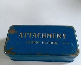 Blue Tin Sewing Machine Attachments Box with Attachments Inside