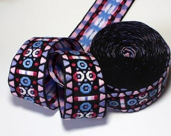 """Woven Jacquard Ribbon  2"""" x 1 yd Black Multi Color Geometric Woven Ribbon - Bo Ho Style - 6 left"""
