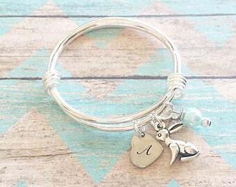 Keepsake//children/baby bangle bracelet//sliver plated//charm bracelet/big/little sister