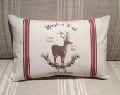 Reindeer Feed Sack Pillow Cover - Vintage Reindeer Pillow Cover - Vintage Christmas Decorative Pillow Cover - Christmas Cushion Cover
