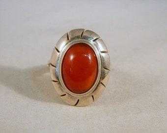 Sterling Silver Carnelian Ring / Vintage Cabochon Cut Dark Red Carnelian Sterling Ring Size 5.75
