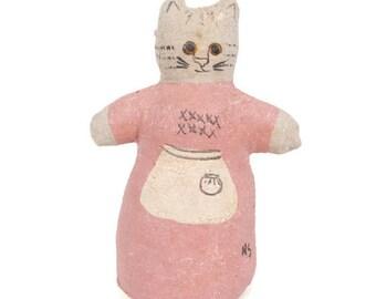 Vintage Folk Art Cat Kitten Hand Painted Gauze Linen Hand Sewn Gauze Figurine Artist Signed