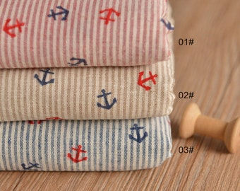 Yarn-dyed,Cotton Linen Fabric for craft, Thin Soft Fabric with Anchor pattern on Stripe linen fabric, diy fabric 1/2 yard (QT908)