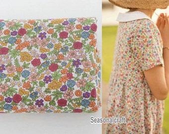 Thin Flax Linen with Flower, Cotton Linen, Zaka DIY Fabric, 1/2 yard (QT585)