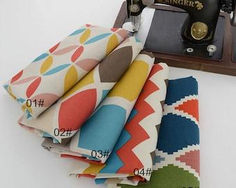 Geometric Cotton Linen Fabric, Square Plaid Diamond Zig Zag Linen Cotton Blend Fabric - 1/2 yard 1/2 yard  (QT853)
