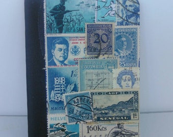 Blue pocket notebook recycled vintage postage stamp collage unique travel gift mini composition travel pad