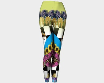 Funky Chequerboard, Vintage Giraffes and Flowers Fashion Leggings
