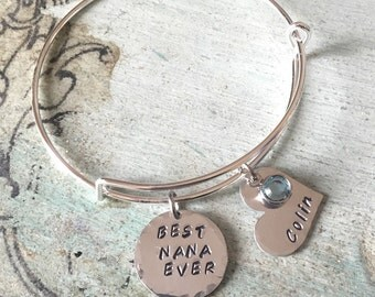 Hand Stamped Bracelet for Nana. Best NANA Ever Gift-Personalized- Mother's Day gift-Nana gift. Gift for her. bracelet. Charm bracelet.