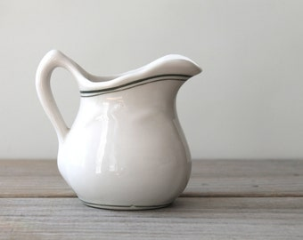 Ceramic creamer vintage mini pitcher / simple farm house style table decor / cabin decor / country cottage home / Scandinavian style home