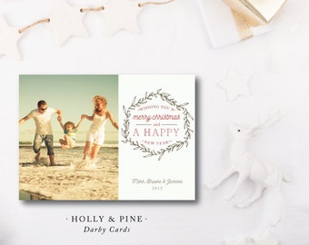 Holly and Pine Christmas Cards