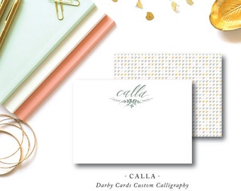 Flat A2 Stationery Custom Calligraphy Notes with Blank Envelopes | Calla Stationery Design | Printed by Darby Cards Collective