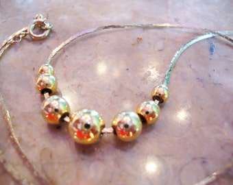 """S A L E  VINTAGE GOLD 7 BALL Lucky 17"""" Box C Link Chain Graduated Sphere Beaded Necklace"""