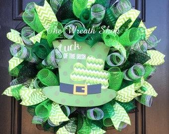 St. Patrick's Day Luck of the Irish Wreath - Mesh St. Patrick's Day Wreath