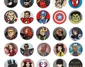 Avengers Batman X-Men Marvel Superhero 1 inch Button