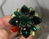 15% OFF Spectacular Emerald Green Multi Rhinestone Domed Vintage Brooch,  Marquise, Tear Drop and Round Rhinestones