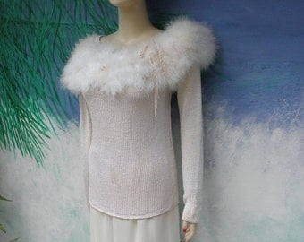 1/2 OFF Lilie Rubin Winter White Lambwool Blend L/S Feather Boa Sweater Long Sleeve,  sz S-M