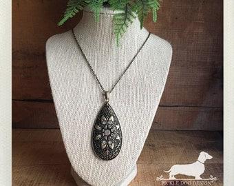 Sunburst Drop. Necklace -- (Vintage-Style, Antiqued Brass, Rhinestones, Rustic, Boho Chic, Bridesmaid Gift, Unique, Birthday Gift Under 10)